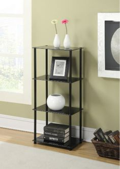Contemporary Bookcase Tempered Glass Shelves Home Office Furniture Black Finish