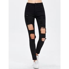 Destroyed Bodycon Jeans (40 BAM) ❤ liked on Polyvore featuring jeans, ripped jeans, distressing jeans, white distressed jeans, destruction jeans and distressed jeans