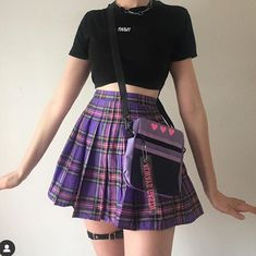 🧡 Fancy a Grunge or Aesthetics style? 🌺 Our shop will please you … - Popular Purple Outfits, Edgy Outfits, Korean Outfits, Cute Casual Outfits, Grunge Outfits, Pretty Outfits, Summer Outfits, Egirl Fashion, Kawaii Fashion