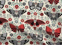 Halloween Inspo, Halloween Fabric, Halloween Skull, Fabric Butterfly, Tile Wallpaper, Tumbler Designs, Sugar Skulls, Mexican Folk Art, Pottery Painting