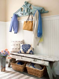 Inviting Entry - The bench, the waincoting, the use of architectural salvage - all of it good!