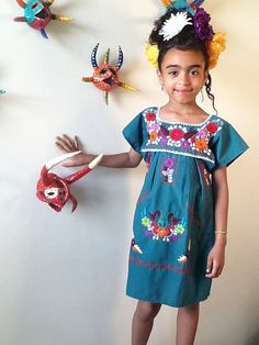 Little Frida ~ Embroidered Mexican Peasant Dress Handmade Dresses, Handmade Clothes, Little Girl Fashion, Kids Fashion, Mexican Dresses, Love Clothing, Little Fashionista, Sweet Dress, My Baby Girl
