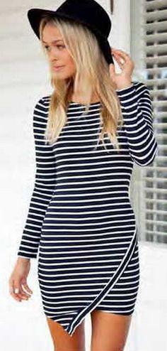 SHOP DIVERGENCE CLOTHING http://divergenceclothing.com/fall-2014/reverse-long-sleeve-stripe-dress.html