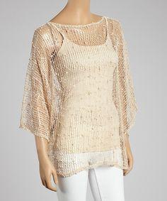 Look what I found on #zulily! Beige Crochet Poncho #zulilyfinds