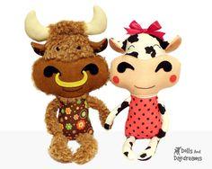 Cow Sewing Pattern DIY Bull Plushie Farm Stuffed Toy Instant Download PDF via Etsy