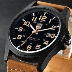 cae9fa31cf7 Relógio analógico Pulseira de couro SOKI Relógios Elegantes