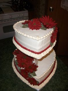 """Burgandy Gerber Daisies"", on classic white Buttercream icing."