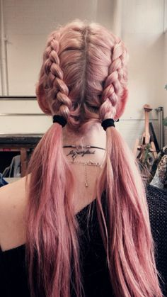 Long pink dyed braided hair with ponytails - http://ninjacosmico.com/28-crazy-hairstyles-ideas/