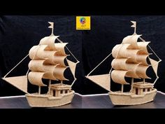 cardboard crafts decoration How to make a boat model with Jute and Cardboard Jute Crafts, Diy Arts And Crafts, Craft Stick Crafts, Decor Crafts, Cardboard Box Crafts, Paper Crafts, Cardboard Playhouse, Cardboard Toys, Cardboard Furniture