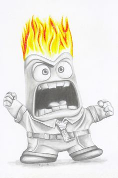 Anger from inside out-disney-pixar-fan art-character art-drawing-wall art