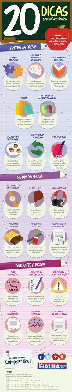 Infográfico 20 Dicas para o Vestibular