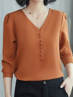 Stylewe Long Sleeve Blue Red Pink Caramel Women Blouses For Work Chiffon V  Neck Elegant Elegant 822f2040b26
