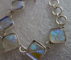 "Iridescent Dichroic 925 Sterling Silver Toggle Bracelet 7""=8.5"" 39 Gram by SilverAnmol on Etsy"