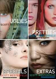 Uglies series by Scott Westerfield- YA fantasy/dystopia that is very conceptually interesting. In a future world, all citizens undergo extreme cosmetic surgery at age 16 to be accepted into society.
