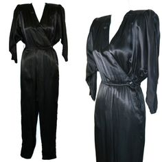 1980s Black Sateen Acetate Wrap Jumpsuit by by KrisVintageClothing