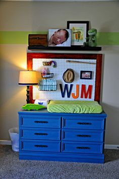 Painted Dresser/Changing Table with Pegboard - #projectnursery