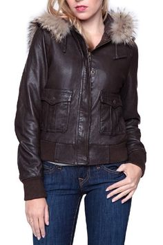 True Religion Leather Jacket with Fur Collar BOMBE, Color: Dark Brown, Size: S