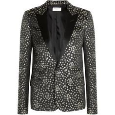 Saint Laurent Satin-trimmed jacquard blazer (70 815 UAH) ❤ liked on Polyvore featuring outerwear, jackets, blazers, silver, star blazers, lapel jacket, star jacket, jacquard blazer and jacquard jacket