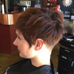 Messy tousled pixie and pretty new color for Andrea!