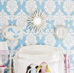 Pottery Barn Adorable blue girl's bedroom design with blue wallpaper, white headboard and crisp white bedding! Girls Room Design, Kids Bedroom Designs, Childrens Bedroom Wallpaper, Girls Bedroom, Bedroom Decor, Childs Bedroom, White Bedroom, Bedroom Furniture, Stencil