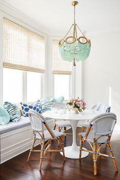 Aqua decor in dining room