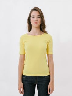 Denda Yellow T-Shirt // Our Denda, now available in other colours! Basic fitted T-shirt with short sleeves and round neckline, which opens out slightly towards the sides to provide maximum comfort. This T-shirt will become your best all-rounder for day to day wear as you can wear it with denim basics, high-waisted trousers or a skirt. Created using a fabric of variegated cotton and very light polyester.