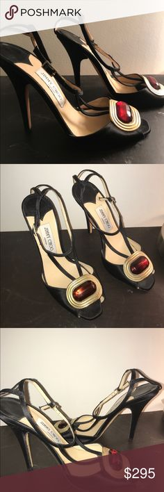 Jimmy Choo Black Heels (Suede) Open toe Black suede heels with red vino gem and gold rims. Open to reasonable offers. Worn once or twice. Jimmy Choo Shoes Heels