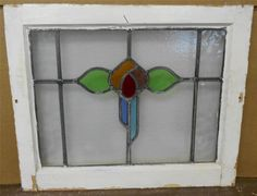"""OLD ENGLISH LEADED STAINED GLASS WINDOW Pretty Colorful Floral 20.75"""" x 17"""""""
