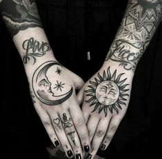 Sun and moon hand tattoos Sun Tattoos, Trendy Tattoos, Love Tattoos, Beautiful Tattoos, Body Art Tattoos, Tatoos, Simple Hand Tattoos, Knuckle Tattoos, Piercing Tattoo