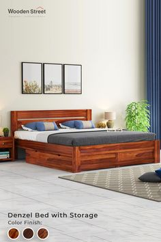 The Denzel King Size Bed has a classic and elegant design that can easily blend with any interior design. The basic striped pattern of the headboard on this bed gives a magnificent look. This double bed is crafted by Sheesham wood to make it more durable and robust. Explore more on Woodenstreet.  #woodenstreet #furniturebondedwithlove #beddingset #luxurylifestyle #vocalforlocal #dreambed #interiordesigner Latest Wooden Bed Designs, Simple Bed Designs, Best Bed Designs, Double Bed Designs, Simple Wooden Bed Design, Box Bed Design, Bedroom Bed Design, Bedroom Furniture Design, Bed Furniture