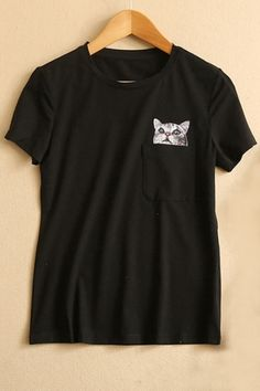 College Girl Style Pocket Cat Print Round Neck Tee the latest fashion trends for women and teens. We search the corners of the world for affordable, unique . College Girl Fashion, College Girls, Pocket Cat, Plain Tees, White Tees, My Outfit, Latest Fashion Trends, Shirt Style, T Shirts For Women