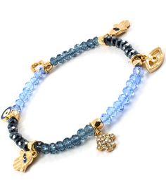 Accessory Accomplice Goldtone Hamsa & Evil Eye Charm Blue Bead Stretch Bracelet