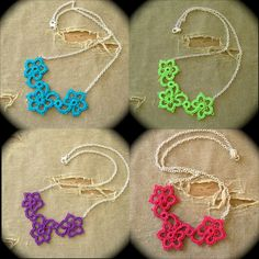 Tatted Pendant Necklace Neon Spring Colors by TotusMel on Etsy