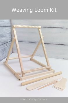 Table Loom With Stand Weaving Loom Kit Tapestry Loom And Tools Looms Weaving DIY Craft Kit Beginner – 2019 - Weaving ideas Weaving Loom Diy, Inkle Weaving, Weaving Tools, Weaving Projects, Weaving Art, Circular Weaving, Circle Loom, Tapestry Loom, Weaving Wall Hanging