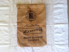 Vintage advertising Thom McAn Burlap bag / Burlap drawstring bag / shoe bag / accessory bag / craft projects by PureJoyVintage on Etsy