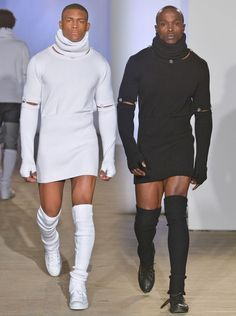 As clothing becomes more amorphous and less gender specific, lines are blurring. AtHood by Air's FW 2015 runway show in New York this week,male models wore slit dresses down the runway, while Public School showed women wearing men's trousers. On Sunday, New York-based designer Telfar Clemens had
