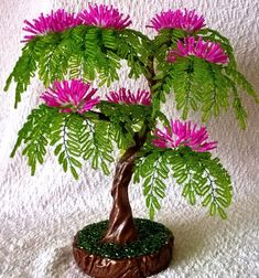 Wondering How Bonsai Trees Are Made? Seed Bead Flowers, French Beaded Flowers, Felt Flowers, Crochet Flowers, Paper Flowers, Beaded Flowers Patterns, Wood Craft Patterns, Wire Tree Sculpture, Plastic Bottle Crafts