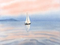 Sailboat painting, seascape painting, sunset painting, ocean beach Original watercolour by JP Wisnie Landscape Artwork, Watercolor Landscape, Watercolor Art, Sailboat Painting, Seascape Paintings, Ocean Beach, Original Paintings, Images, Photos