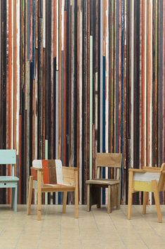 Piet Hein Eek and NLXL scrapwood wallpaper is available on Dutch Design Only. Paper Wallpaper, Striped Wallpaper, View Wallpaper, Beautiful Wallpaper, Wall Fires, Shabby Chic Colors, Madeira Natural, Eindhoven, Recycled Wood