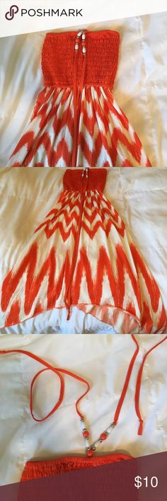 Bright and beautiful sundress! Beaded strap that goes around your neck. Longer flow at the sides. Goes down to knees! Only worn once! 5th & Love Dresses Midi
