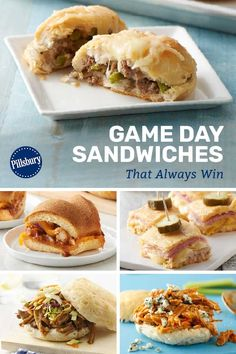 What's better than a warm slider on game day? A bunch of recipe options, so you can pick you and your home team's favorite and make it all season long. Buffalo Chicken Sliders, Full Meals, Pillsbury Recipes, Game Day Appetizers, Game Day Food, Sandwich Recipes, Pulled Pork, Sandwiches, Food And Drink