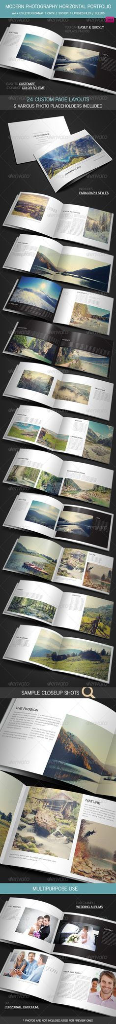Modern Photography Portfolio, Wedding Album is a 24 paged A4 + US Letter brochure / portfolio made for photographers, graphic designers, artists and other who want to show their work in different, creative way. Great for making wedding albums, corporate brochures, product showcase etc.