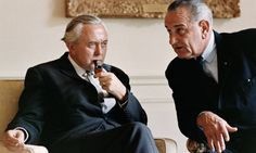 Put that in your pipe: Prime Minister Harold Wilson, also smoking a cigarette, discussing Nato with President Lyndon B Johnson in 1966. Phot...