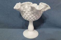 "Vintage Fenton Art Glass Milk Glass Hobnail Double Crimped Comport 6"" Tall #3628"