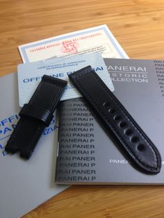 Panerai Strap handmade in black black Leather Tannery Masure & Linen thread Lin Cable 532 Noir