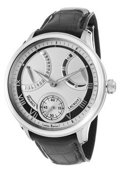 Men's Masterpiece Mechanical Retrograde Silver Dial Black Genuine Alligator - now this is an investment