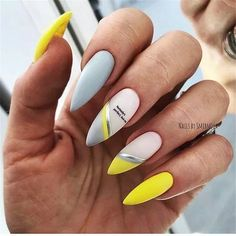 - Novelty and trends in manicure - Page 36 of 119 - Inspiration Diary - Nails Cute Acrylic Nails, Matte Nails, Stiletto Nails, Acrylic Nail Designs, Coffin Nails, Manicure, Nagel Gel, Yellow Nails, Beautiful Nail Designs