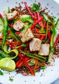 Tuna Steak Red Quinoa Salad Crunchy Vegetables Ginger Lime Dressing