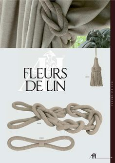 Houles Fleur De Lin trimmings collection with link knot rope tie backs