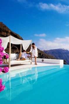 Infinity Pool in Oia, Santorini. Can we be here right now?